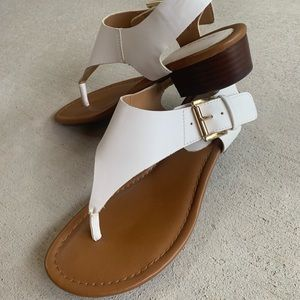 Tommy Hilfiger White Sandals with Wooden Heels